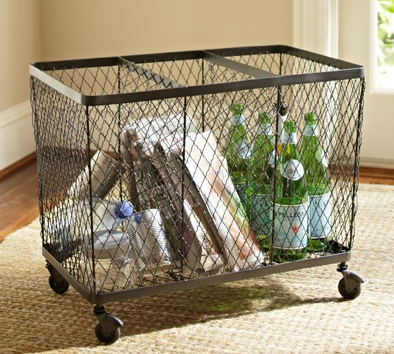 Pottery Barn Recycling Bin - this is a great design!  It would be great if the bins were separate & could be lifted off the base for easy transport & recycling.