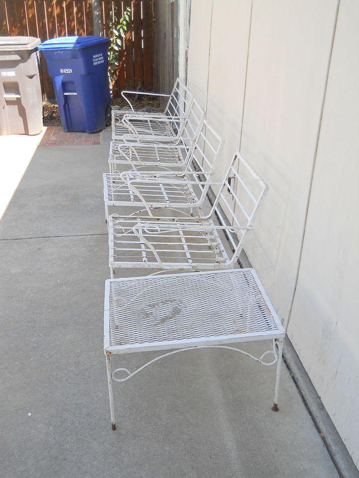 vintage 5 pieces wrought iron patio furniture set
