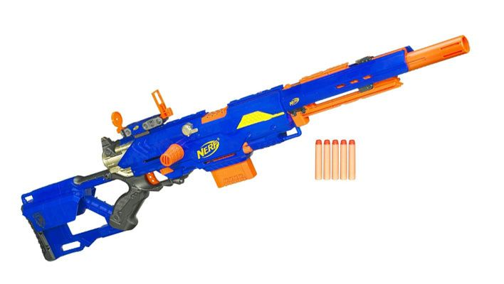 Nerf (trademarked in capitals as NERF) is a toy brand created by Parker Brothers and currently owned by Hasbro. Most of the toys are a variety of foam-based weaponry, with other Nerf products including balls for sports like American football, basketball and baseball.