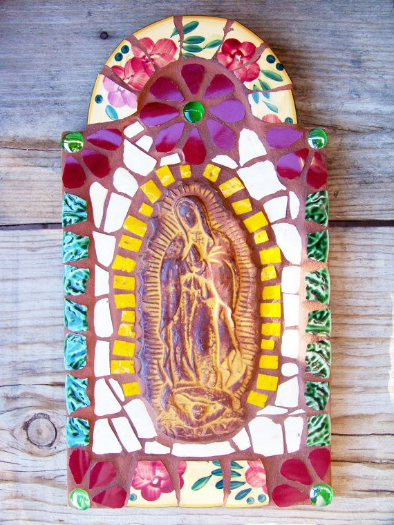 Mosaic Tile Virgin De Guadalupe Nicho Retablo by NatalieBacaStudio, $99.00