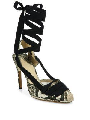 ALTUZARRA Snake-Print Leather Lace-Up D'Orsay Pumps. #altuzarra #shoes #flats