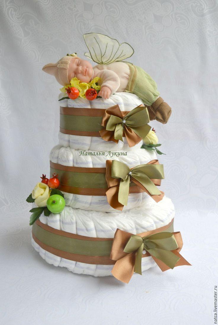 """Купить Торт из памперсов """"Лесной эльф"""" - хаки, торт из памперсов, торт из подгузников"""