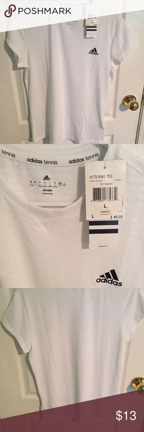 "NWT size large white adidas workout shirt NWT white ""tennis shirt"" from adidas. Adidas Tops Tees - Short Sleeve"
