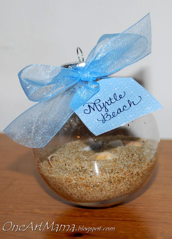 Take sand off of the beach from the honeymoon and put it in an ornament.