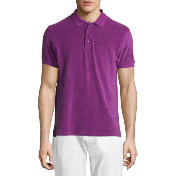 Vilebrequin Terry Short-Sleeve Polo Shirt ($165) ❤ liked on Polyvore featuring men's fashion, men's clothing, men's shirts, men's polos, purple, men's spread collar dress shirts, mens short sleeve shirts, mens terry cloth shirts, mens purple polo shirts and mens polo shirts