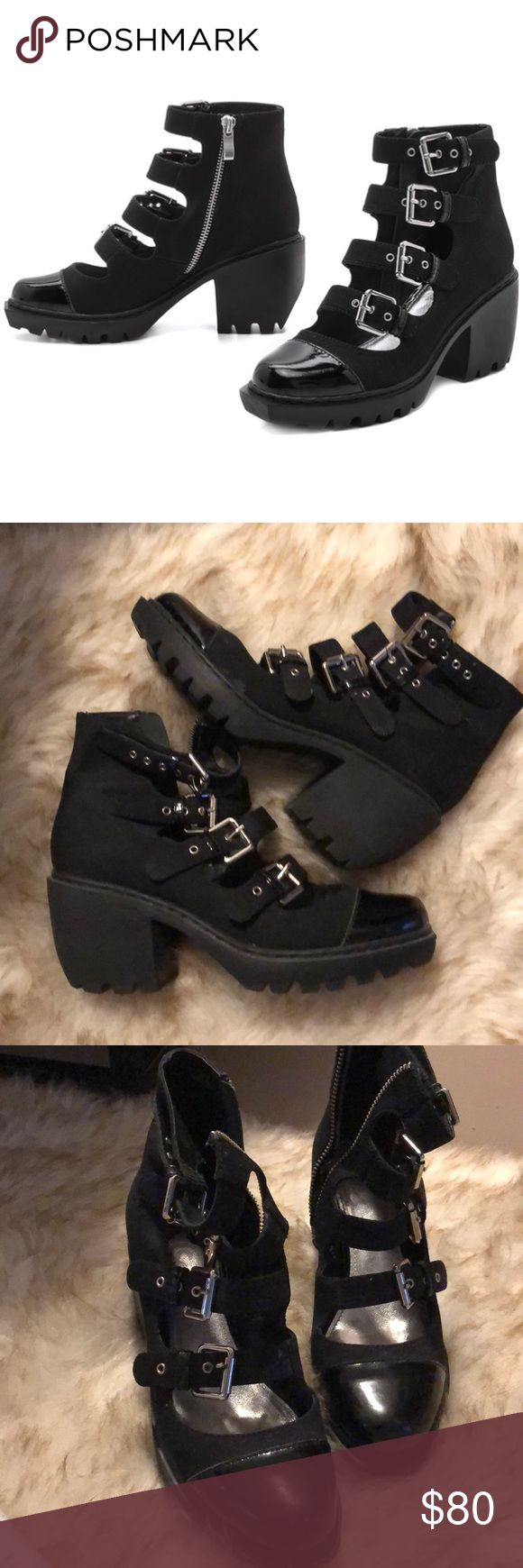 7.5 38 opening ceremony grunge buckle bootie boots Super cute just too small for me!  These are a 7.5 but fit more like a 7 Zipper pull is missing from the right foot. Zipper still works you just have to do it manually. Easy fix at a repair shop Opening Ceremony Shoes Ankle Boots & Booties