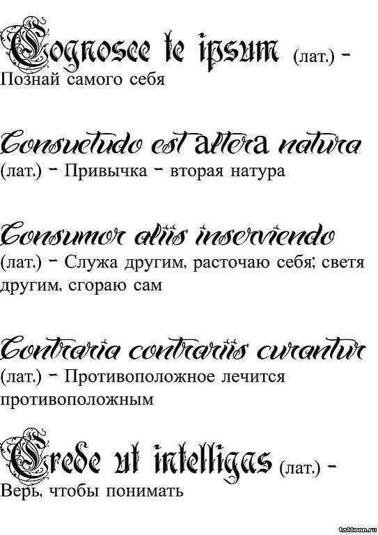 Татуировки надписи с картинками и переводом