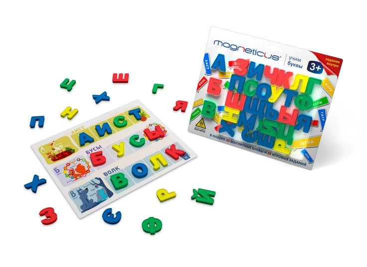 Яркие магнитные пластиковые буквы привлекут внимание ребенка! В комплект входят 29 игровых заданий на обучение грамоте.
