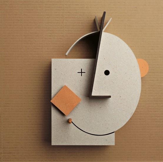 masquerade. cartoncino colorato canson, cartone accoppiato, materiali di recupero, legno, policarbonato trasparente. cm. 41,5x41,5x12
