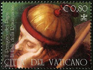 """Vatican City issued a set of four stamps and a souvenir sheet featuring Perugino's """"Resurrection of Christ"""" on April 5, 2005."""