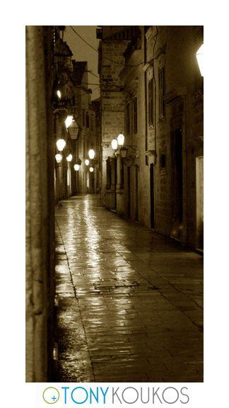 lights, lanterns, street, narrow, windows, reflections, night, dubrovnik, croatia, europe, travel, photography, art, Tony koukos, places