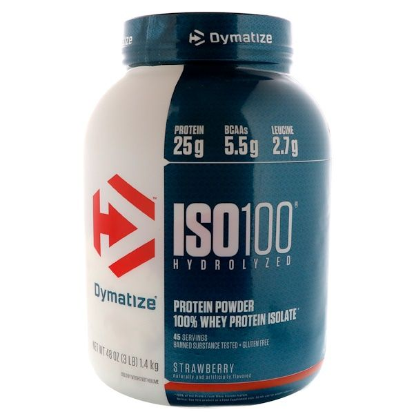 Dymatize Nutrition Iso 100 Hydrolyzed 100 Whey Protein Isolate Strawberry 3 Lbs 1 4 Kg Discontinued Item Isolate Protein Whey Protein Isolate Whey Protein