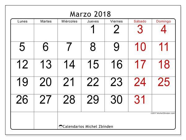 Calendario para imprimir gratis marzo de 2018, 62LD. Calendario mensual.