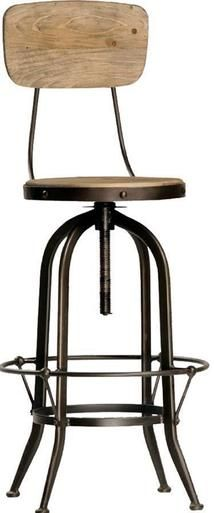 Bar Stool With Back DOVETAIL FORD Industrial Adjustable Height Distresse DT-1685