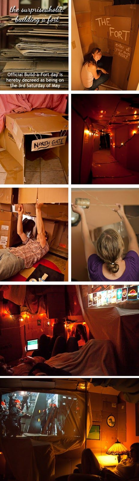 Building an adult-sized cardboard fort.      Build yours the 3rd Saturday in May!  I want to do this...