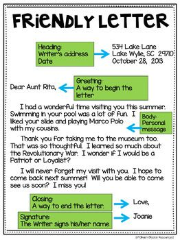 friendly letter format lesson plan friendly letter freebie ideas for independent work 13848