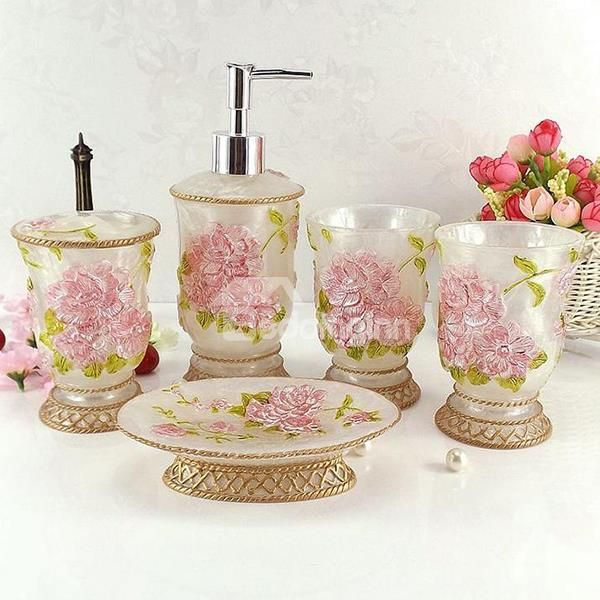 Best Bathroom Set Accessories Images On Pinterest Bath - Pink and blue bathroom accessories
