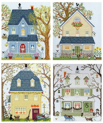 Set of 4 New England Homes - Bothy Threads Cross Stitch