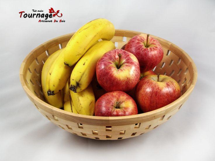 Bol à fruits segmenté fait en bois de tilleul et merisier : Cuisine et service de table par tournage