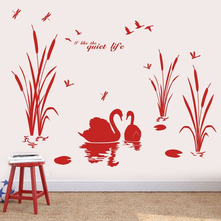 [SHIJUEHEZI] Custom Swan Lovers Wall Sticker Animal Reed Grass View Handmade Wall Decals Landscape for Living Room Decoration #Affiliate