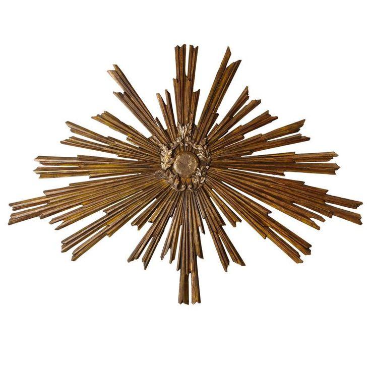 Italian Carved Wood Sun Panel | 1stdibs.com