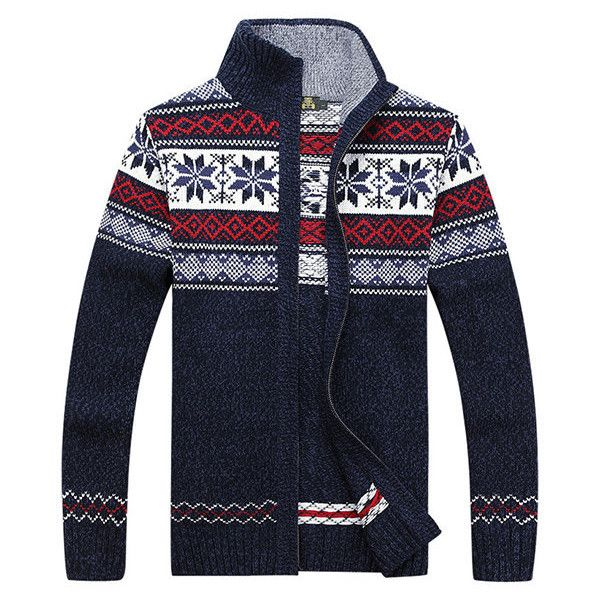 Mens Sweater Warm Thick Thick Stand Collar Casual Cardigans Zipper... ($35) ❤ liked on Polyvore featuring men's fashion, men's clothing, men's sweaters, mens cardigan sweater, mens zip cardigan sweater, mens shawl collar sweater, mens sweaters and mens shawl collar cardigan sweater