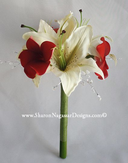 tiger Lily Bouquets | 1131308-Red-White-Plumeria-TigerLily