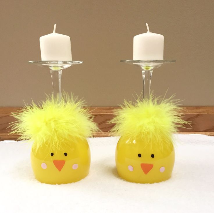 Easter Chick Wine Glass Candle Holder, Easter Chicks, Easter Centerpiece, Easter…