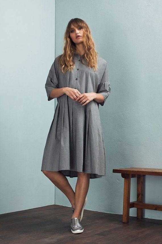 Oversized dress - Striped dress - Loose dress - Casual dress - Pleated dress…