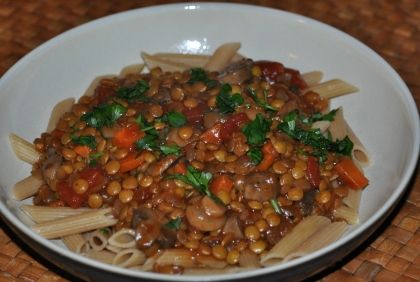 Hearty Mushroom Lentil & Mushroom Ragu + Pasta Adapted from the website: The Simple Veganista | New Paradigm Health Cookery | Information and Recipes about New Health Enhancing, Whole Food, Plant-Based Diet
