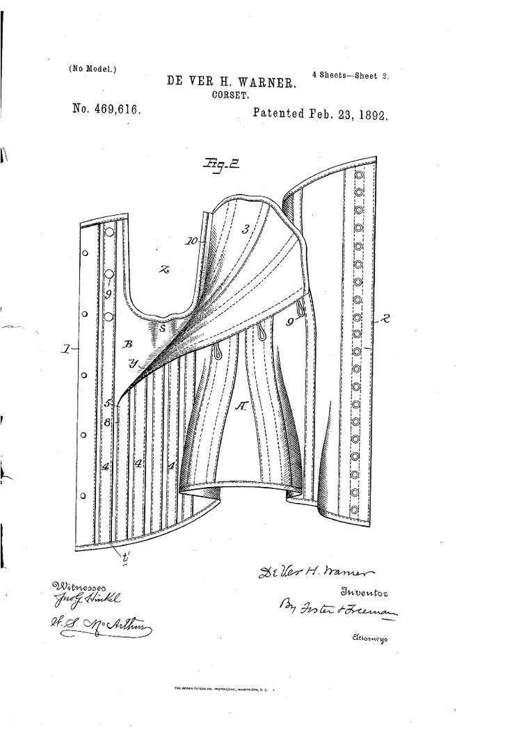 1892 Nursing corset  US patent 469,616  button closure