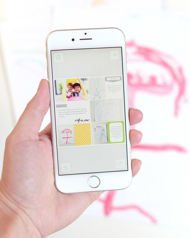 Download a scrapbook app to keep your child's artwork digitally.
