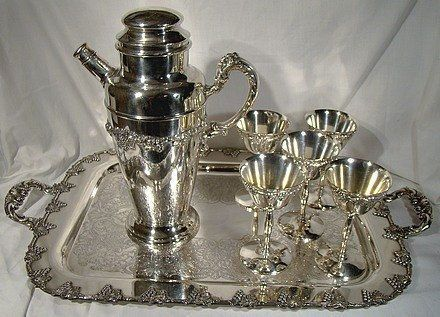 Silver Plate Grape & Vine Cocktail 7 Piece Set 1930 With Tray