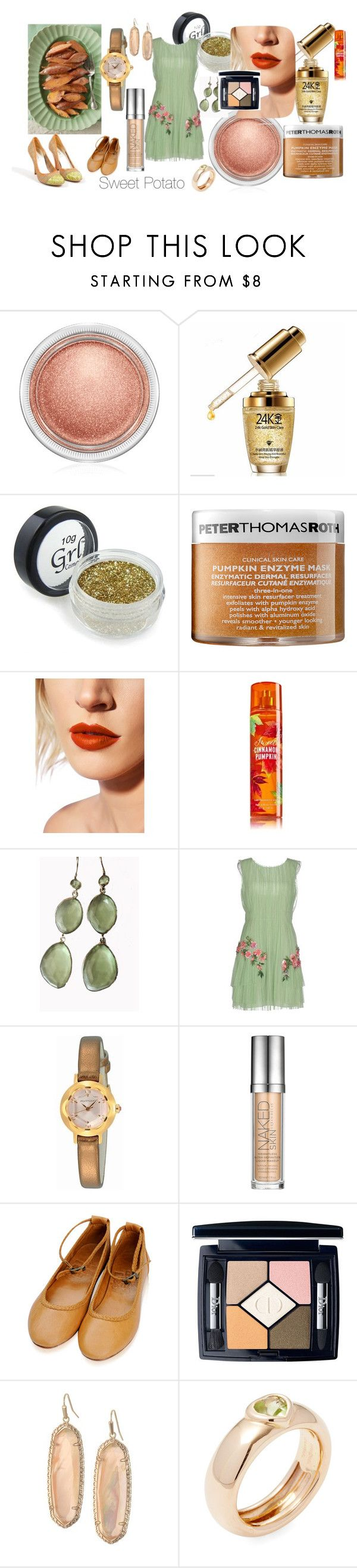 """Sweet Potato"" by fab-dallas ❤ liked on Polyvore featuring MAC Cosmetics, Peter Thomas Roth, Lime Crime, Blue Candy Jewelry, Alberta Ferretti, Jill Stuart, Urban Decay, Christian Dior, Kendra Scott and Tiffany & Co."