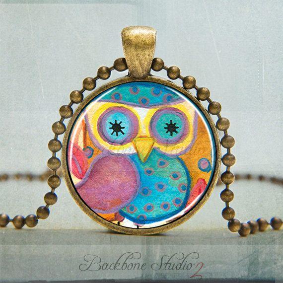 Owl Pendant Whimsical Owl Watercolor Art by backbonestudio2, $9.00