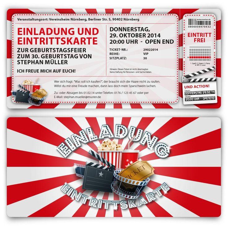 Einladungskarten Zum Geburtstag (10 Stück) Als Kino Ticket Eintrittskarte  Film Theater
