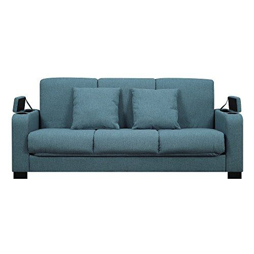 Myeasyshopping Storage Arm Convert A Couch Blue Linen Futon