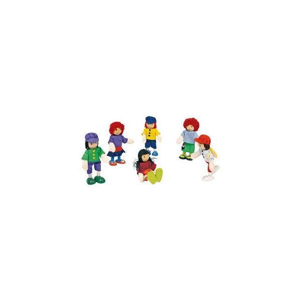 """Pupazzetti pieghevoli """"6 Amici""""  Gruppo divertente di amici, con arti flessibili è un'ottima integrazione per le casette delle bambole,  veicoli o mobili per bambole!"""