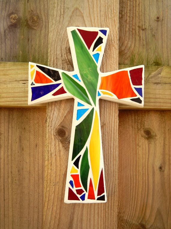 """Mosaic Wall Cross, Abstract Floral Design, """"Bird of Paradise"""", Multicolored/Bright Handmade Stained Glass Mosaic 12"""" x 8"""" by GreenBananaMosaicCo, $45.00"""