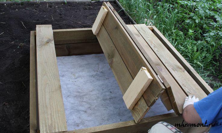 Песочница своими руками, детская песочница с крышкой, как сделать песочницу, крышка столик, крышка лавочка