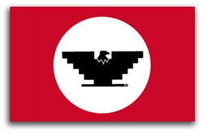 """Uniter Farm Workers symbol - In 1962 César asked his cousin, Manuel, to design a flag. Cásar wanted an Aztec eagle on the flag, and Manuel adapted the design in a symbol to inspire courage to the farm workers. """"A symbol is an important thing, that is why we chose an Aztec eagle,"""" Chavez said. """"It gives pride. When people see it they know it means dignity."""""""