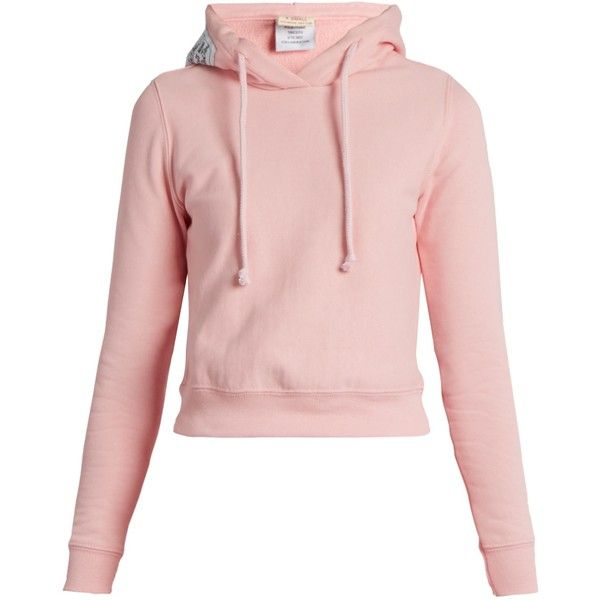 Vetements X Champion hooded cotton-blend sweatshirt ($535) ❤ liked on Polyvore featuring tops, hoodies, sweatshirts, pink hooded sweatshirt, hooded sweatshirt, cropped sweatshirt, pink top and crop top
