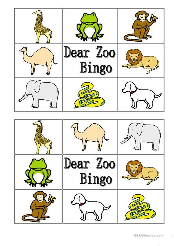 Dear Zoo Animal Bingo Dear Zoo Book Dear Zoo Dear Zoo Activities
