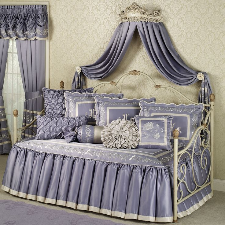 Bedroom. Cool White Metal Daybed With Purple Curtain Canopy Feats ...