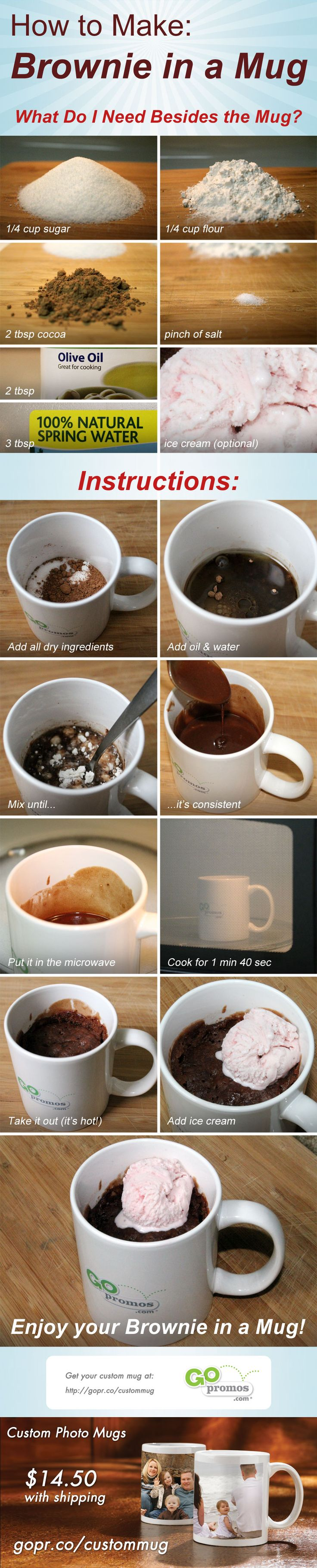 How to Make Brownie in a Mug  this will be good on those nights I need a quick brownie fix