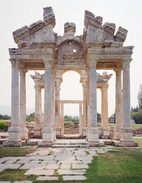 Tetrapylon gate in the ancient ruined city of Aphrodisias, Turkey (by colinmillerphoto).