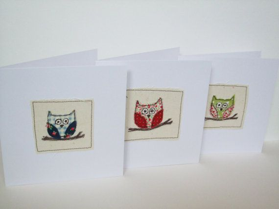Owl Card  Machine Embroidered  Paper Handmade by Nikelcards