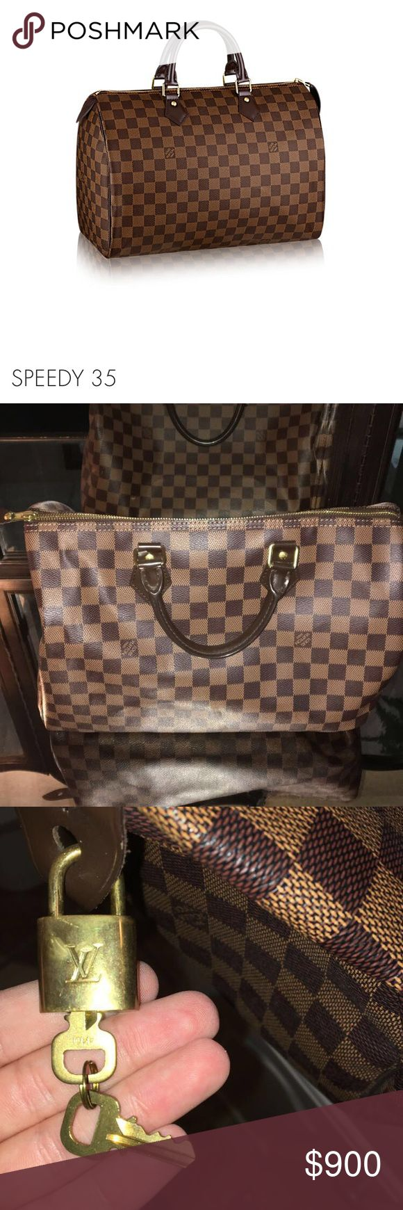 Louis Vuitton Speedy 35 Authentic Louis Vuitton speedy 35. Never used and comes with dust bag received with original purchase. Both keys come with original box. Louis Vuitton Bags Totes