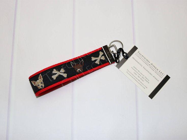 Dog Key Fob - Chihuahua Key Ring - Dog Keychain - Red Key Ring - Wristlet Keychain - Key Lanyard - Gift Under 10 - Dog Lover Gift by TalfourdJones on Etsy
