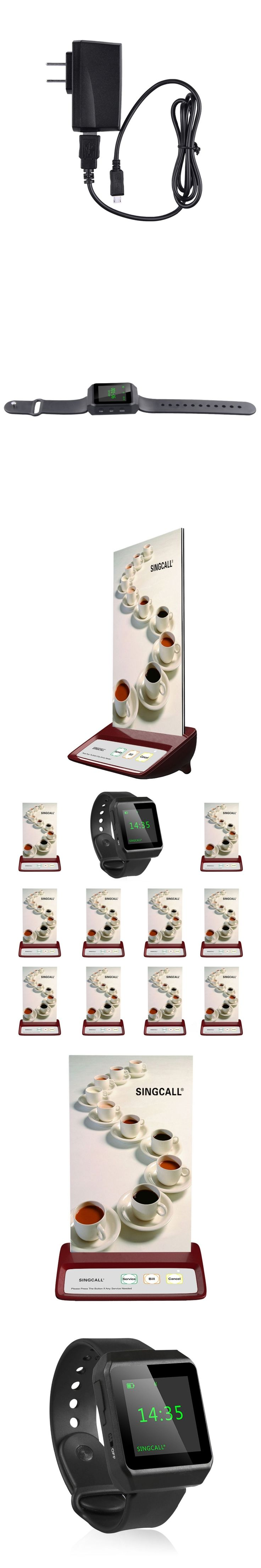 SINGCALL bell wireless service, pressing the call button,1 mobile watch receiver, 10 table bell for shop restaurant
